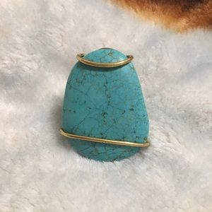 Jewelry - statement blue turquoise wrapped ring
